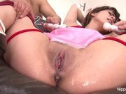 Asian maid is tied up and made to cum