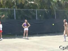 Playing tennis with long dildos