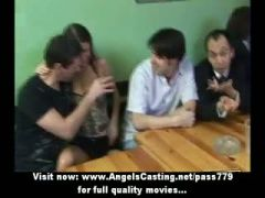 Amateur orgy with drunken chicks undressing and dancing in the pub