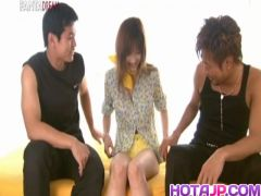 Mio Komori Asian sweetie is stripped and fucked in a th