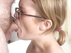 Chick in glasses deepthroating that small wiener