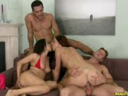 Group sex with two brunettes