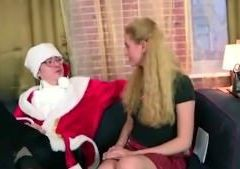 Tricky old teacher fucks his young student in a Santa Claus suit
