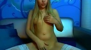 Blonde Teen With Christmas Hat and White Stockings Fingering