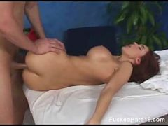 Babe rides pussy on big dick