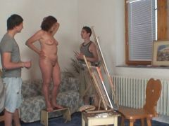 Elder female is bumped by 2 young painters