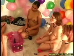 Real amateur lesbians play with dildos in reality groupsex