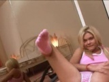 Blond cleaner dildoing on the floor