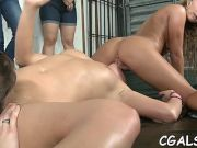 Raunchy lesbo group-sex